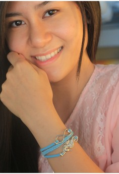 Craftika's Blue Bracelet with Seahorse and Infinity Charms