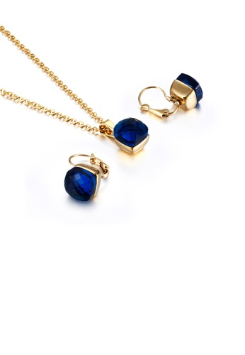 Glamorousky blue Fashion and Simple Plated Gold Geometric Square 316L Stainless Steel Necklace and Earrings Set with Dark Blue Cubic Zirconia B5A6FACC3D6789GS_1