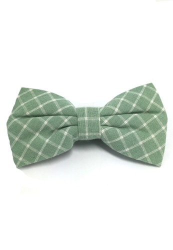 Splice Cufflinks Probe Series Green and White Checked Design Cotton Pre-tied Bow Tie SP744AC13QPESG_1