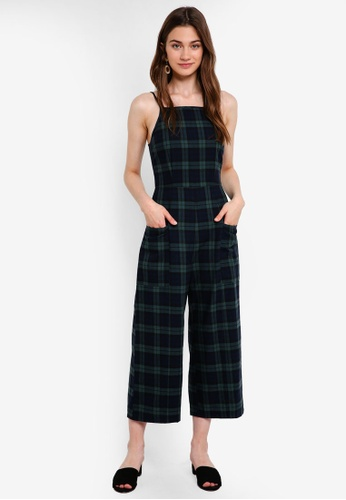 Something Borrowed green Check Cami Culotte Jumpsuit 4B72DAA95338DAGS_1