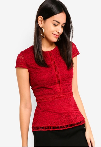 ZALORA red Lace Top 3EEC4AA71FC6FFGS_1