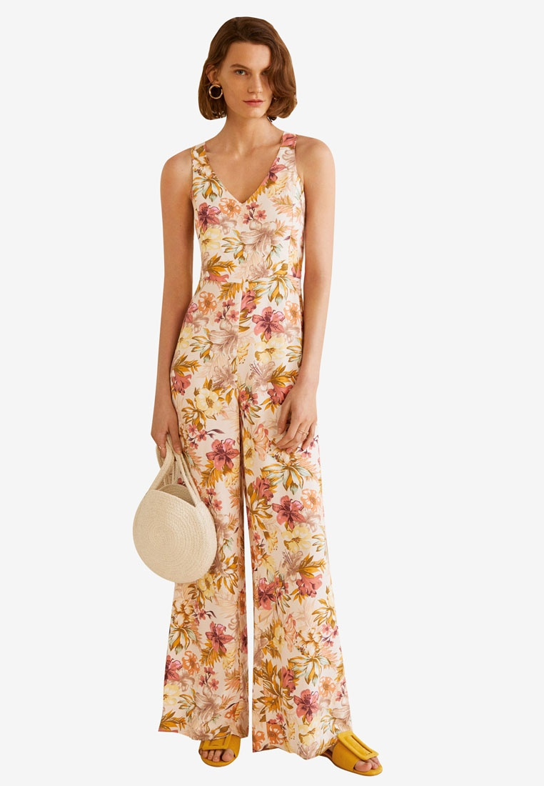 Natural Mango Printed Long White Jumpsuit rOzHSO