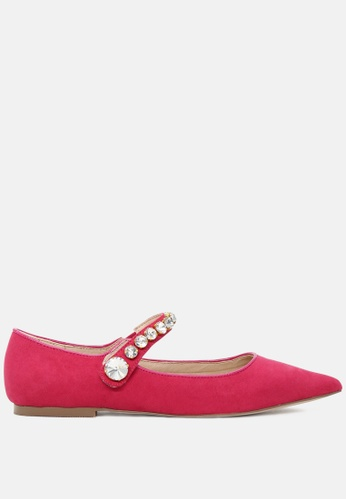RAG & CO pink Pointed Toe Ballerina Flats with Jewel Strap RCSH1813 D365ASH2923D27GS_1