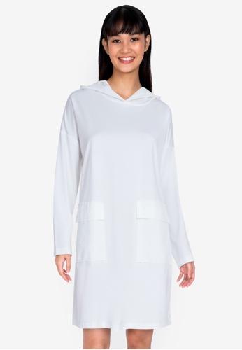 ZALORA BASICS white Oversized Hooded Dress FCA30AA1E07293GS_1