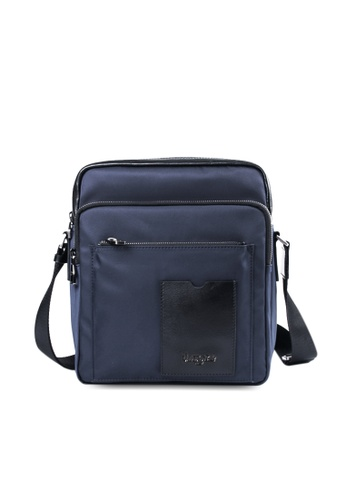 Valentino Rudy blue Valentino Rudy Leather-Trimmed Canvas Sling Bag VA677AC41LSSSG_1