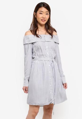 Bardot white and blue Sienna Shirt Dress BA332AA0STALMY_1