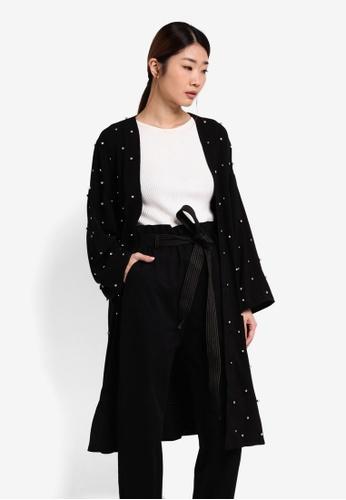 Something Borrowed black Embellished Kimono Cardigan 6D198AA9061345GS_1