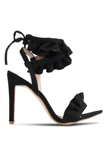 Public Desire black Mumbai Frill Wrap Around Heels 33E7ESH93510F7GS_1