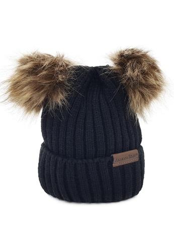 Akarana Baby black and grey Baby Beanie Double Faux Fur Pom-Pom (Black) 1B207KC1D5F22CGS_1