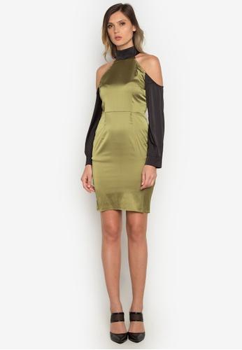 NOBASIC green Paneled Sheath Short Dress 079BDAAE8DFA22GS_1