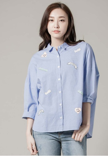 H:CONNECT blue SHARKEE Checked Shirt 2AF44AA504342BGS_1