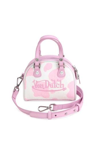 Von Dutch white and pink Von Dutch Pink & White Cow Print Pony Hair Leather Micro Mini Bowling Bag 27A83AC777A107GS_1