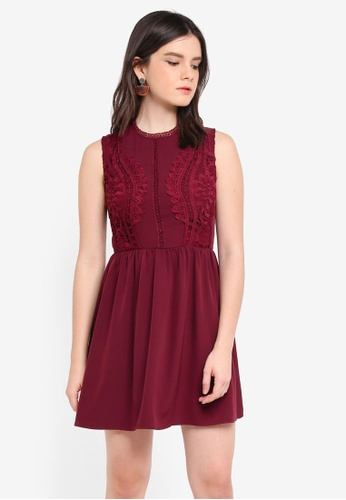 ZALORA red Lace Front Fit & Flare Dress 9A9CEAA246A1FEGS_1