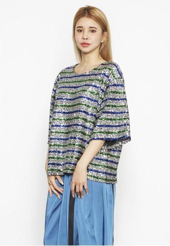 亮片條紋寬版上衣, 服飾,zalora taiwan 時尚購物網 上衣