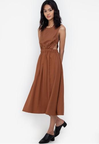 ZALORA BASICS brown Elasticised Back Strap Midi Dress 8316FAA5AC0150GS_1