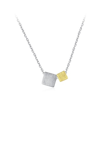 Glamorousky silver 925 Sterling Silver Simple and Fashion Geometric Two-color Square Pendant with Necklace A81A4ACC6A3A77GS_1