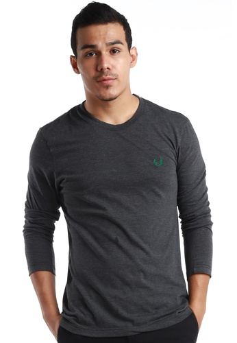 "Fred Perry Green Label black Black Grey Long Sleeve T Shirt with Green ""laurel"" FR595AA75GAMMY_1"