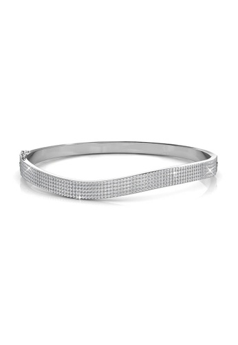 Her Jewellery silver Swarovski® Crystals - Wave Bangle (18K White Gold Plated) Her Jewellery HE581AC0RVG3MY_1