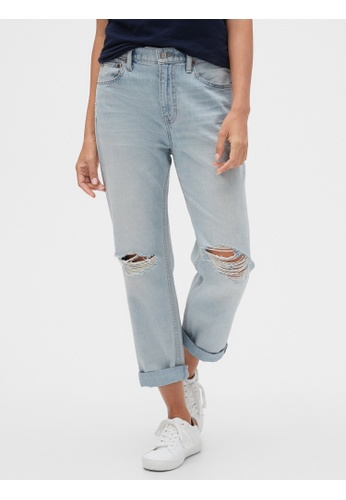 Gap blue Mid Rise Distressed Boyfriend Jeans 81BDEAA37053F4GS_1