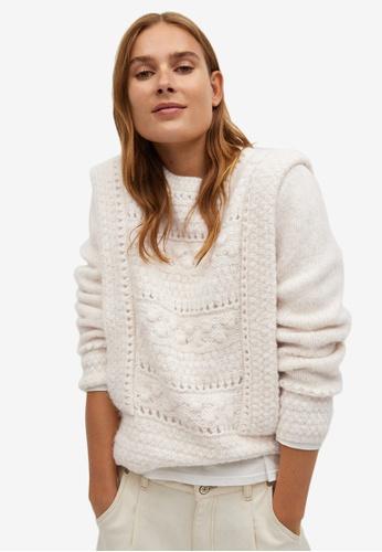 Mango beige Openwork Knit Sweater EED0FAA7775B5EGS_1