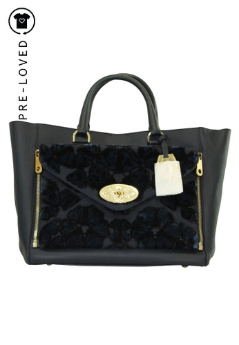MULBERRY blue Pre-Loved mulberry Large Velvet Tote 7EAEBACE5F2F94GS_1