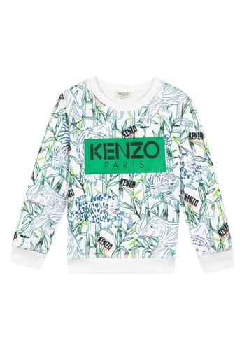 KENZO KIDS white and green and blue and multi KENZO BOYS SWEATSHIRT C3894KA6DE9CC0GS_1