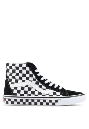 VANS black and white SK8-Hi Reissue Checkerboard Sneakers VA142SH0SBPJMY_1