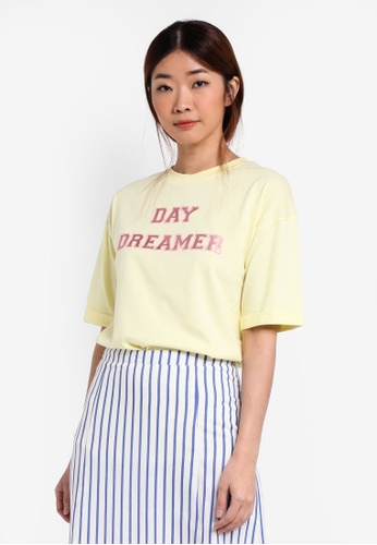 Something Borrowed yellow Cuffed Sleeve Boyfriend Tee 6AADBAAD571F04GS_1