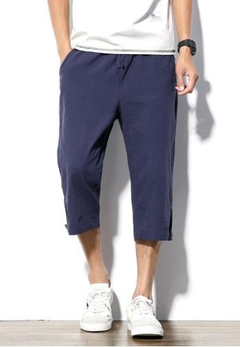 hk-ehunter 海軍藍色 男士棉麻及膝短褲 B2FEDAAD4FD547GS_1