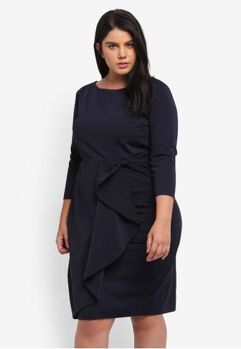 Goddiva navy Plus Size Waterfall Peplum Quarter Sleeve Plus Size Midi Dress GO975AA0SSD1MY_1