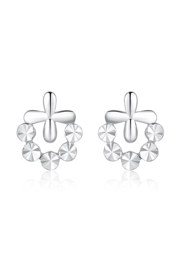 MaBelle silver 14K/585 White Color Gold Gold Cross Flower Earrings 8B5FBAC22DAEEAGS_1