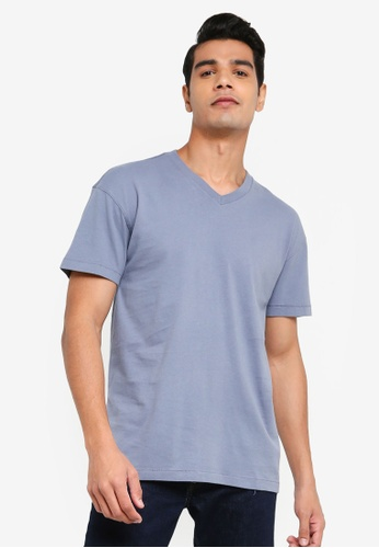 ABERCROMBIE & FITCH grey Essential V-Neck T-Shirt AEA0EAA2B34888GS_1