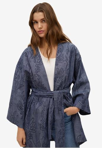 Mango blue Textured Cotton Kaftan 8A19CAAE2949E5GS_1