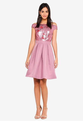 a3603efcab Buy Little Mistress Sequin Skater Dress Online on ZALORA Singapore