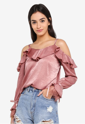 Something Borrowed pink Ruffled Cold Shoulder Top D8E5AAAC24A7AFGS_1