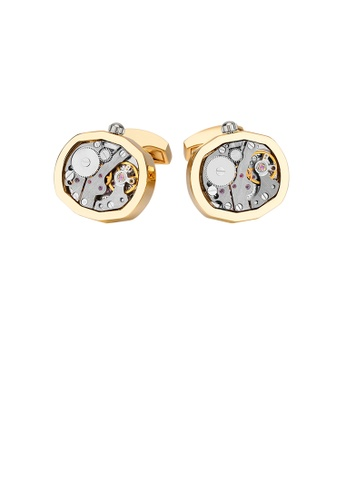 Glamorousky silver Fashion and Elegant Plated Gold Mechanical Movement Cufflinks 6AF45ACC662AB1GS_1