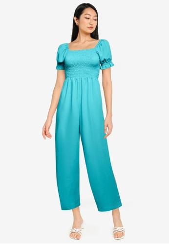 ZALORA BASICS green Puff Sleeve Jumpsuit A299BAA355B011GS_1