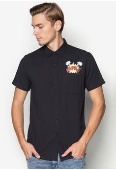 Pop Text Printed Pocket Short Sleeve Shirt
