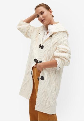 Mango beige Hooded Knitted Coat E3FB4AA5F63A3EGS_1