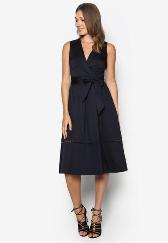 裹飾棉質及膝洋裝, zalora 折扣碼服飾, 正式洋裝