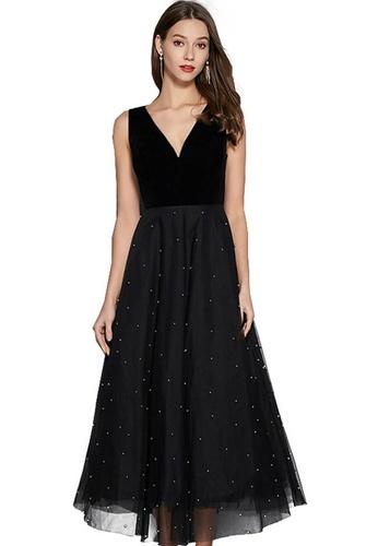 Sunnydaysweety black Black Deep V Sleeveless Beaded Tulle One Piece Dress A21032306 F455CAAC840573GS_1