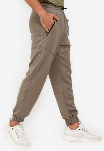 ZALORA ACTIVE green Contrast Zipper Stitch Detail Pants 72264AA2CAD86DGS_1