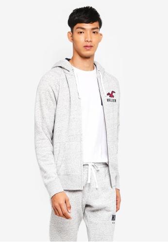 Hollister 灰色 Brand Graphic Zip Hoodie 89F1FAA3847345GS_1