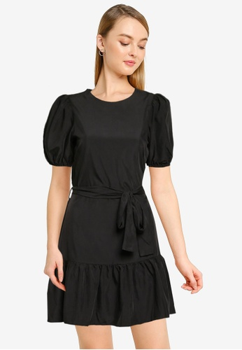 Miss Selfridge black Black Lyocell Mini Fit & Flare Dress 8D6A3AA0898300GS_1
