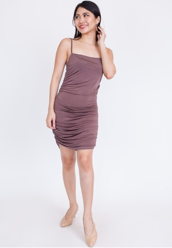 Hook Clothing grey and brown Ruched Side Mini Dress 2C2AFAA2AA8A8EGS_1