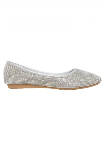 Celsius silver Celsius - Glitter Pointy Toe Flat Women Y86-1 (Silver) D3891SH17A7C17GS_1
