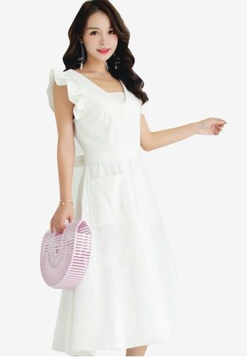 Shopsfashion white Ruffles Midi Fit And Flare Dress BB395AAEEB857AGS_1