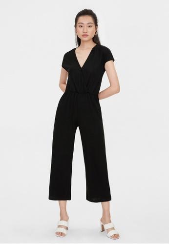 Pomelo black V Neck Elastic Waist Jumpsuit - Black 26C79AAE3CCB5EGS_1