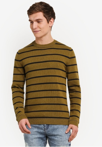 ESPRIT green Striped Long Sleeve Jumper ES374AA0SAYWMY_1