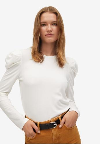 Mango white Puffed Shoulder T-Shirt 0370AAA72654C3GS_1